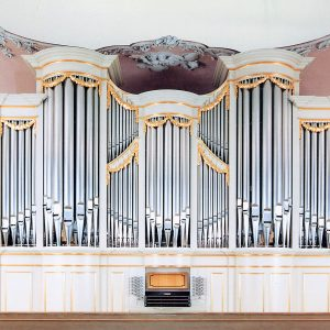 die Orgel in der Schlosskirche Bayreuth, Bayern, Deutschland
