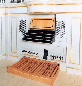 dreimanualiger Spieltisch in der Schlosskirche Bayreuth, Bayern, Deutschland