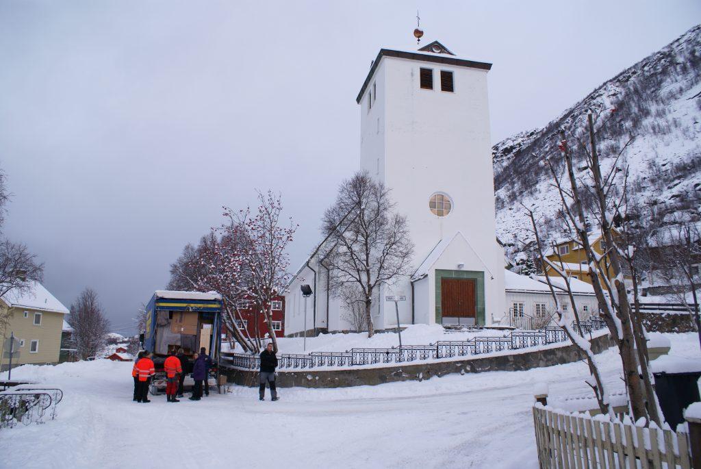 Øksfjord Kirche in Øksfjord, Loppa Kommune, Norwegen