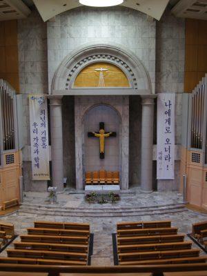 farbliche Neufassung der Orgel, St.John, Bundang-gu, Seongnam, Seoul, Südkorea