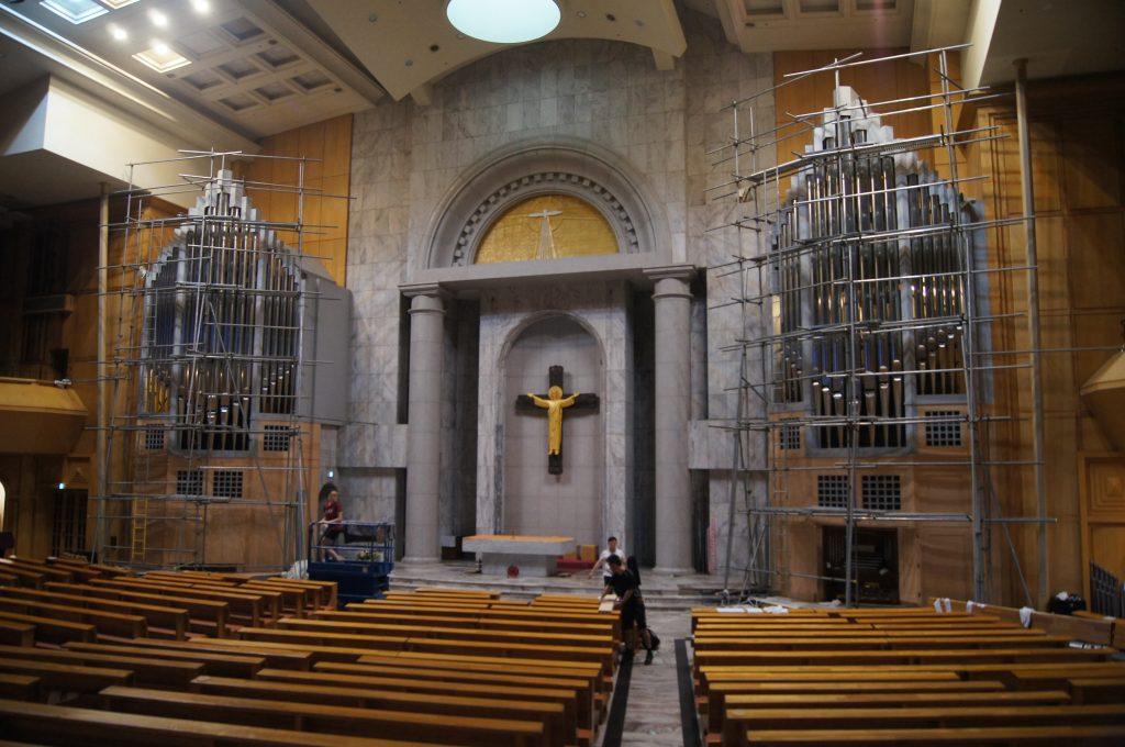 die Gerüste sind fertig aufgebaut - die Arbeiten können beginnen, St.John, Bundang-gu, Seongnam, Seoul, Südkorea