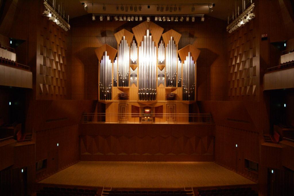 die Orgel des Konzertsaals Ishikawa Ongakudo, Kanazawa, Ishikawa, Japan