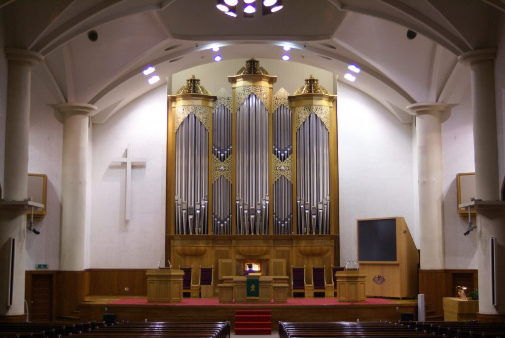 Prospekt der Orgel in der Adam´s Chapel der Keimyung Universität in Daegu, Korea