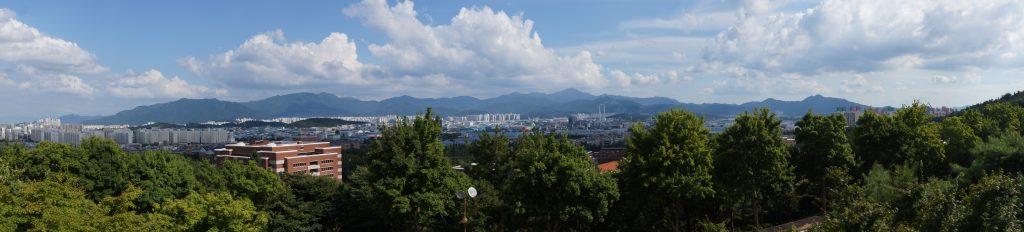 Blick über den Campus der Keimyung Universität in Daegu, Südkorea