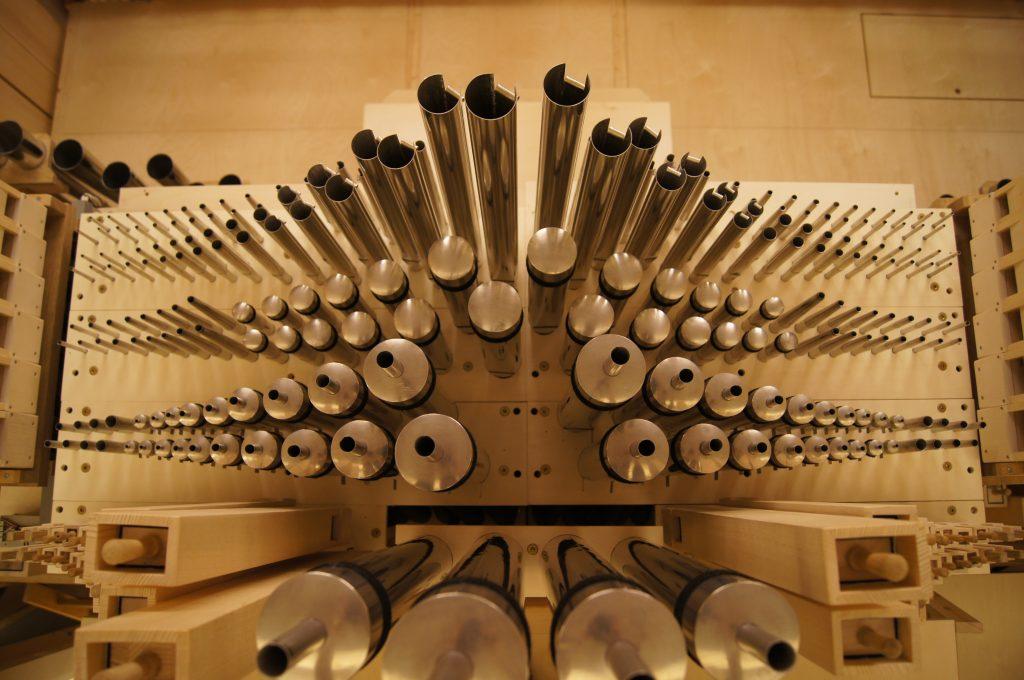Blick in das Positiv der Orgel in der Philharmonie Katowice, Schlesien, Polen, Filharmonia Slaska