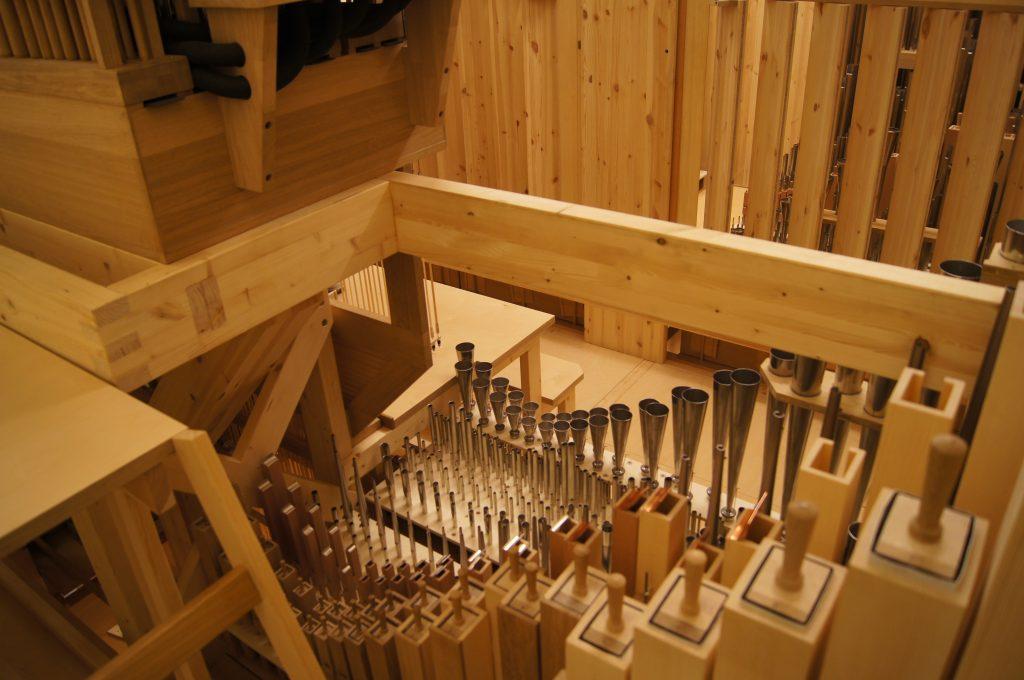 Blick Richtung Schwellwerk der Orgel in der Philharmonie Katowice, Schlesien, Polen, Filharmonia Slaska