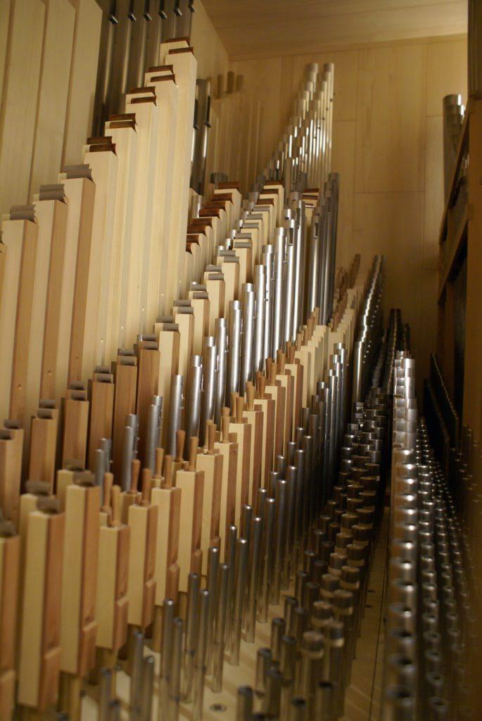 Schwellwerk der Orgel der Heilig Kreuz Kirche in Detmold, Nordrhein Westfalen, Deutschland