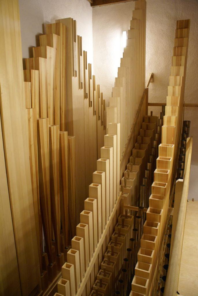 Pedalansicht der Orgel der Heilig Kreuz Kirche in Detmold, Nordrhein Westfalen, Deutschland