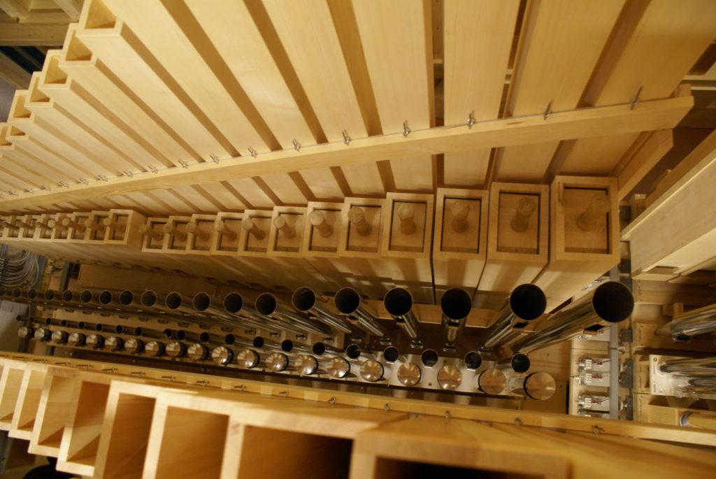 Pfeifen der Pedallade in der Orgel der Heilig Kreuz Kirche in Detmold, Nordrhein Westfalen, Deutschland