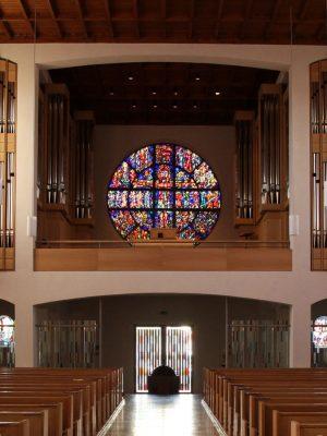 die fertige Orgel der Heilig Kreuz Kirche in Detmold, Nordrhein Westfalen, Deutschland
