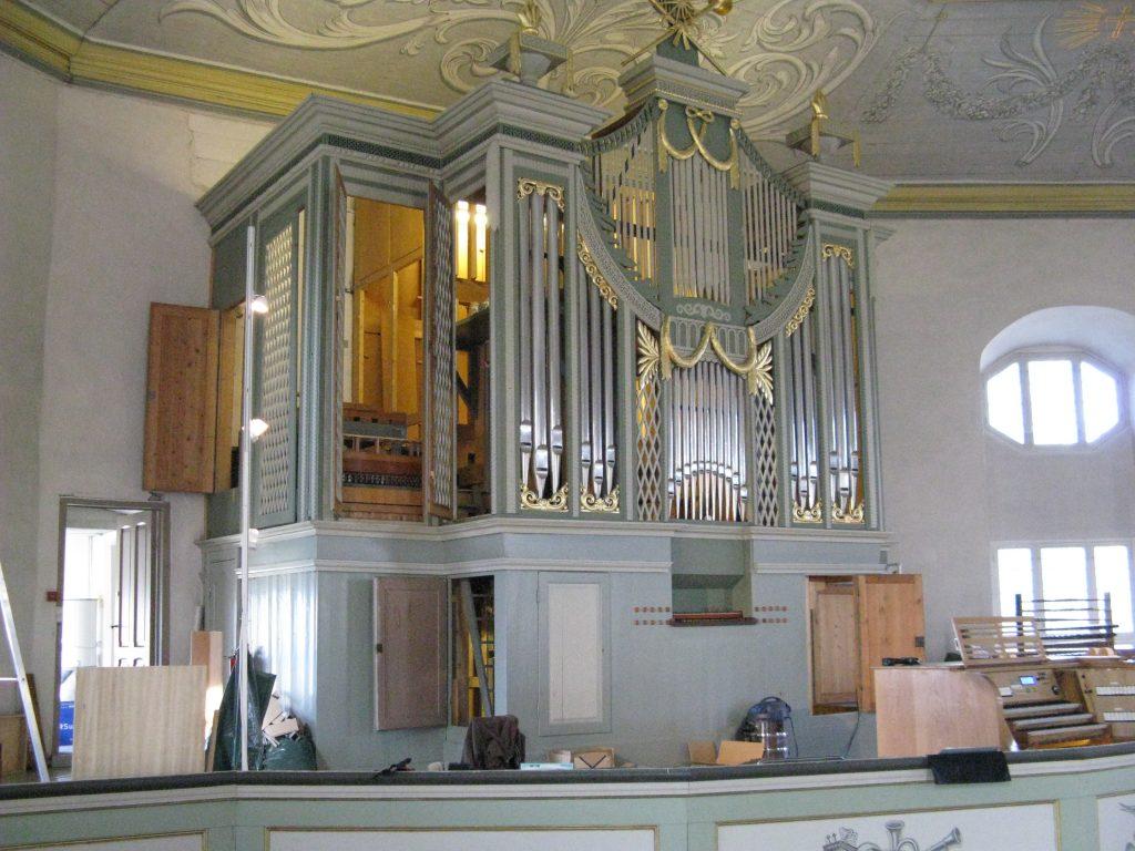 Baustellenimpressionen in der Vang Kirke, Hamar, Hedmark, Norwegen