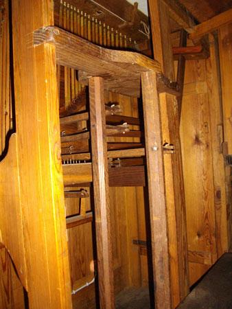 Mechanik der Wagner Orgel von 1739 in Schönwalde Glien, Brandenburg, Deutschland