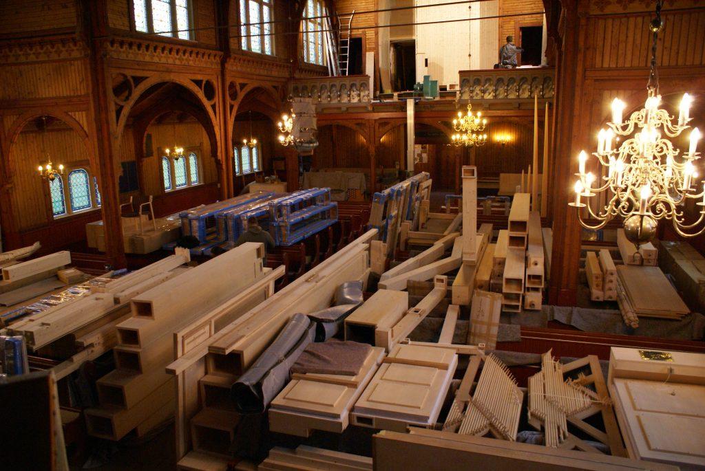 die Orgel ist ausgeladen in der Kirche in Strinda , Trondheim, Sør-Trøndelag, Norwegen