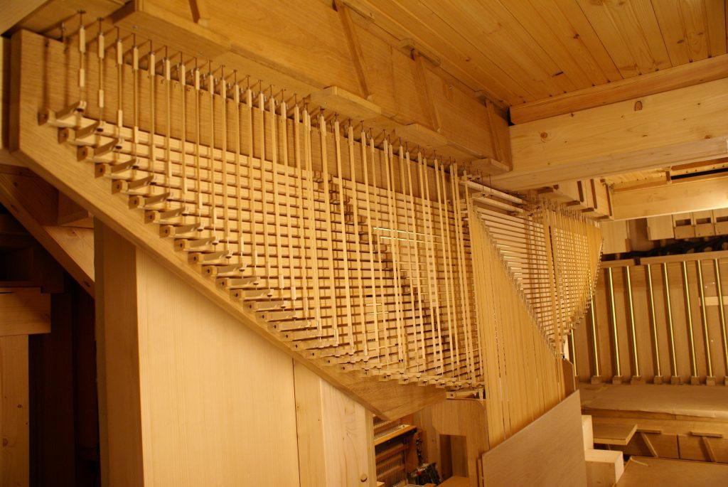 das Wellenbrett des Hauptwerkes für die Orgel in der Kirche in Strinda , Trondheim, Sør-Trøndelag, Norwegen