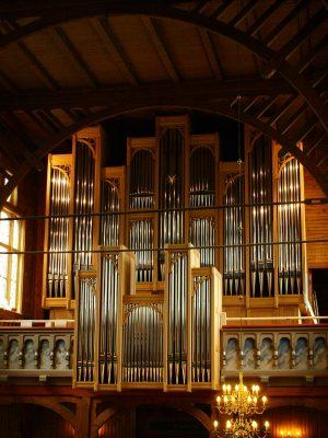 Prospekt der Orgel in Strinda, Trondheim, Sør-Trøndelag, Norwegen