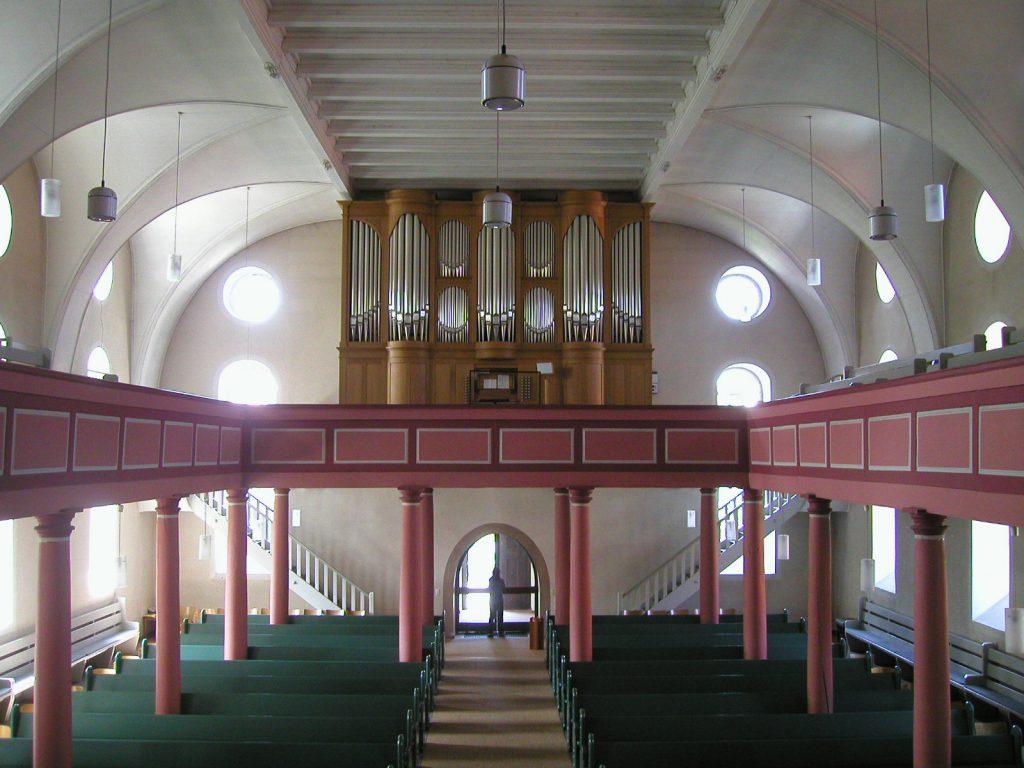 die Orgel der Stadtkirche Schlüchtern und der kirchenmusikalischen Fortbildungstätte, Hessen, Deutschland