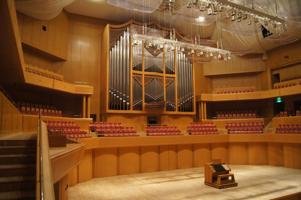 die Konzertsaalorgel im Aichi Arts Center in Nagoya, Aichi Prefectual Arts Center, Japan