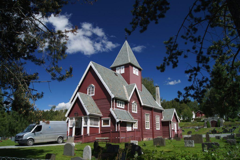 Moen Kirke in Brandbu Jaren , Oppland , Norwegen