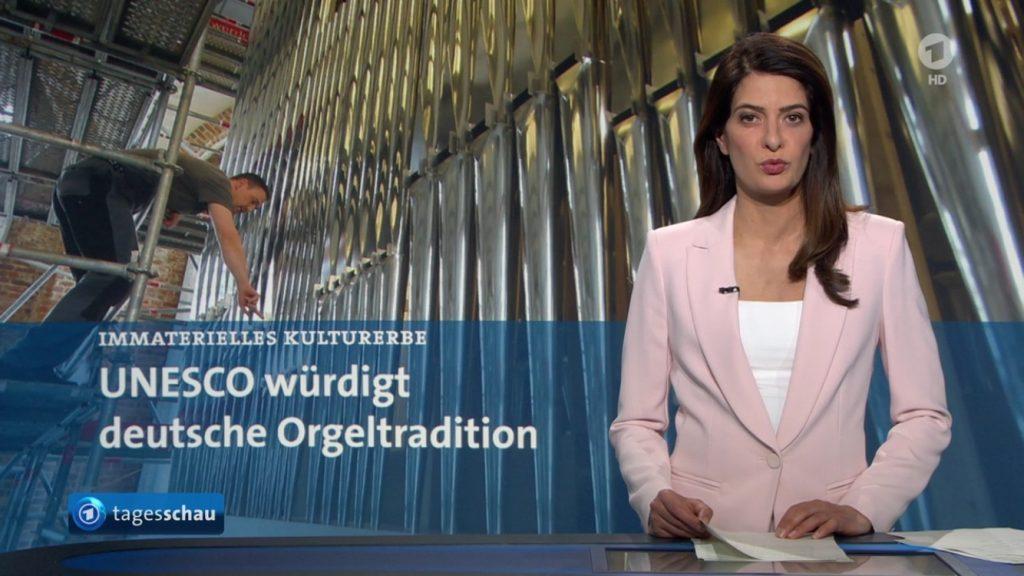 Unsere Orgel in Neubrandenburg als Hintergrundbild der Tagesschau