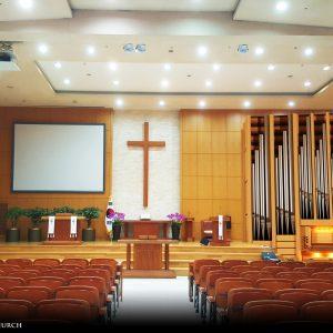 Entwurf für die zweimanualige Orgel in der Seungeun Church in Seoul, Korea